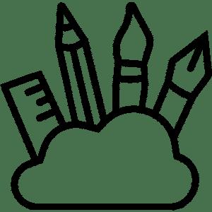 Pictogramme symbolisant l'art à l'Usine Végétale