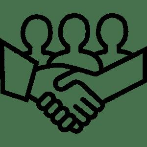 Pictogramme symbolisant la coopération à l'Usine Végétale